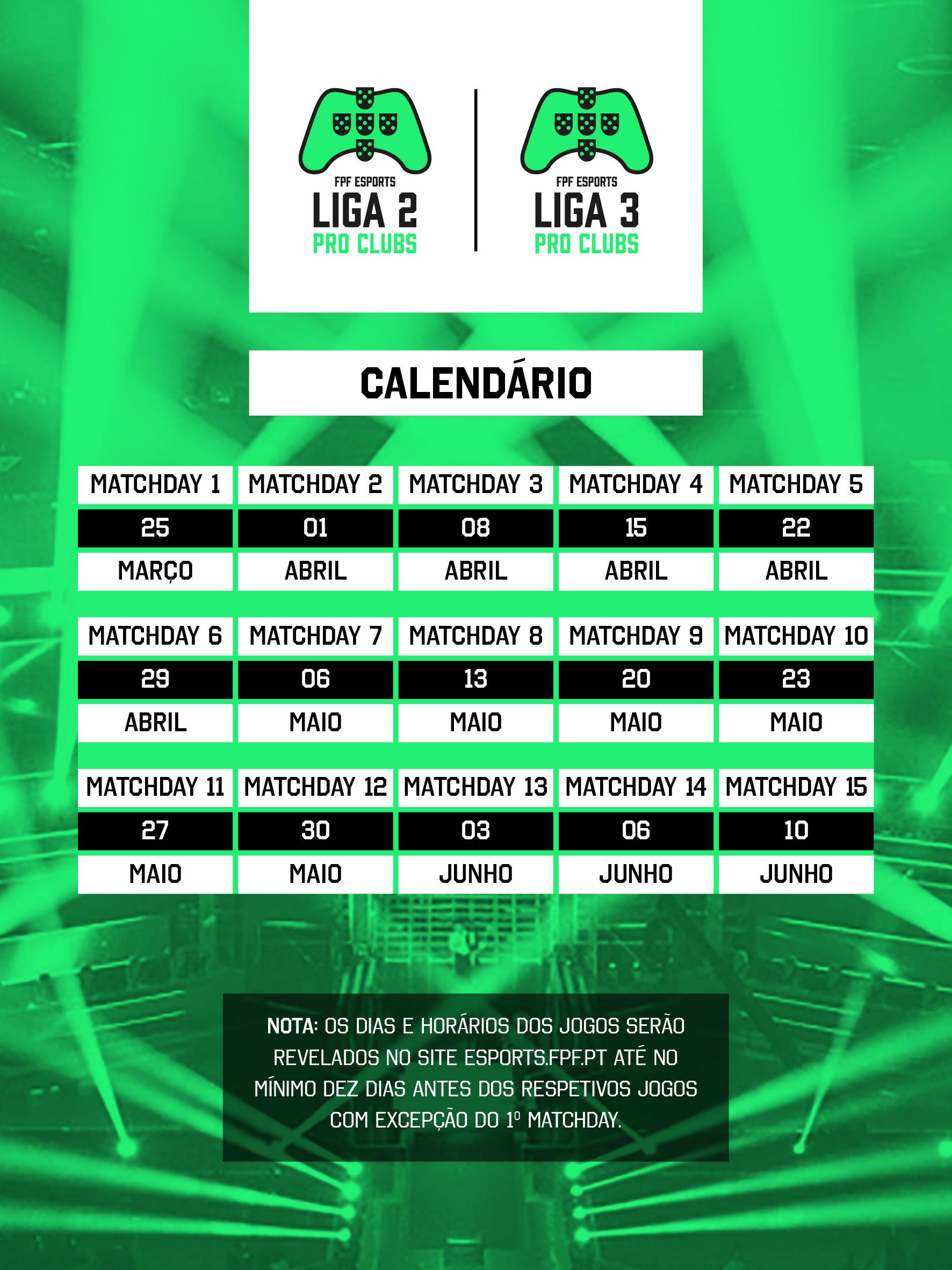 Calendario Primeira Liga.Fpf Esports Calendario Das Ligas